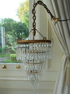 Chic French Vintage 4 Tier Crystal Waterfall Chandelier #2