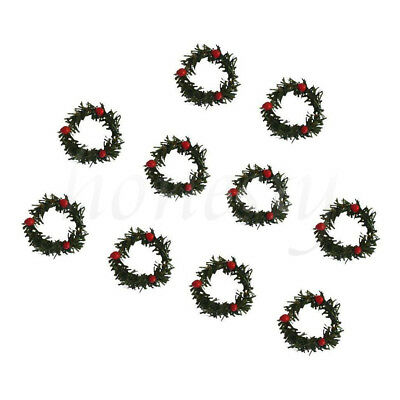 10pcs Mini Christmas Tree Garland Green Wreath with Berry Xmas Home Decoration