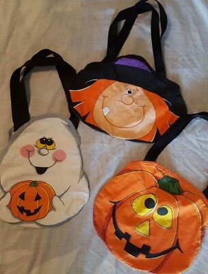 Adorable set of 3 cloth trick or treat bags