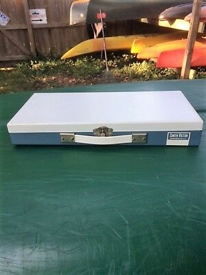 SMITH-VICTOR PHOTO SLIDE FILE STORAGE CASE METAL BOX w/ Latch and Handle