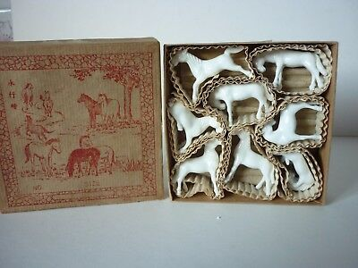 Set x 8 Small Chinese White Porcelain Horses in Original Box