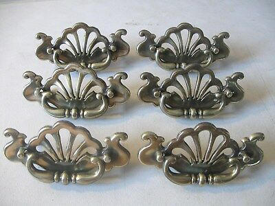 (6) Vintage Brass Finish Drawer Pulls / Handles -- Original Screws Included