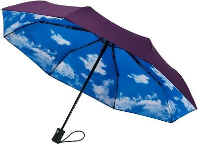 Sky Rain Umbrella Parasol Windproof Compact Travel Durable Automatic Men Women