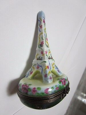 LIMOGES FRANCE Peint Main Eiffel tower Hinged Trinket Box