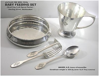 Silver Baby feeding Set Bowl Cup Fork Spoon Pusher Sterling c1920s  A E Jones