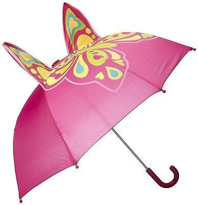 Kids Rain Umbrella Parasol Pink Durable Safety Children Girls Fashion Butterfly
