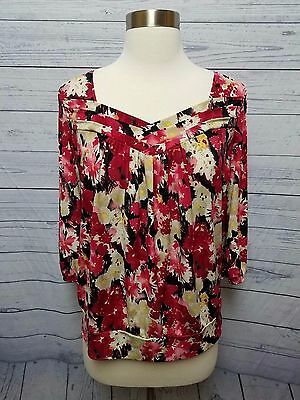 AGB Red Floral Short Sleeve Blouse Career Women's Size M Medium