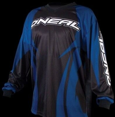 Oneal Element Black And Blue Strike Stripe Motocross Bmx Off Road Jersey Top