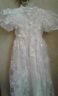 """BABY BISCOTTI LOOK  Lace Christening Gown White 2 PIECE 28"""" LONG"""