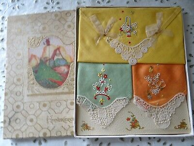 Antique Ladies Handkerchiefs Embroidered Vintage in the Gift Box
