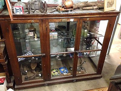 Antique Wood Glass Large Display Case Cabinet, The Streator Mfg Co Preservo Case