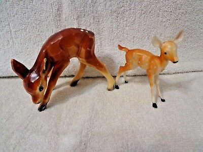 Vintage Lot of 2 Hard Plastic FAWN Deer's Figures, Made in Hong Kong VNC