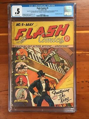 Flash Comics #5 - CGC 0.5 Incomplete - Only King Cover in Title (1940)