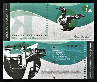 Canada Local Currency KAWARTHA LOON Exchange PETERBOROUGH One Kawartha Loon UNC