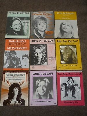 Eurovision - Lot of 9  1970s music sheets