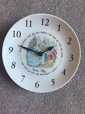 Beatrix Potter Plate Clock For A Wall. Ceramic. No Batteries Included.