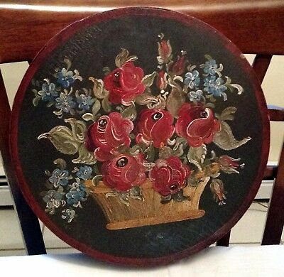 """Beautiful Roses in Basket Round Hand Painted Box       Signed """"Hannelore Weber"""""""
