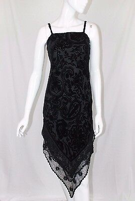 Laura Ashley Petite Black Burnout Devore Velvet Crochet Goth Evening Dress 8