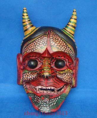 """Handmade Carving Painting colored drawing wood Mask God Deco Art  13"""""""