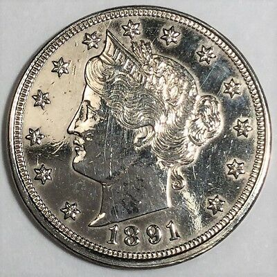 1891 Liberty V Nickel Uncirculated Details Beautiful Coin Rare Date