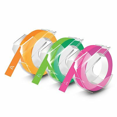 DYMO Embossing Tape Neon Green Orange Pink 3/8-Inch Self Adhesive Label Refill