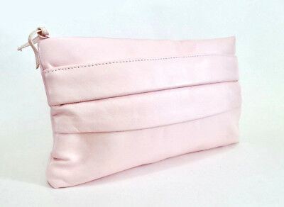 Vintage 80s Soft Cushy Baby Powder Pink Convertible Clutch Shoulder Bag Purse