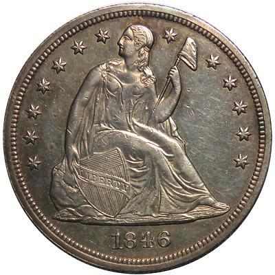 1846 $1 Silver Seated Liberty Dollar