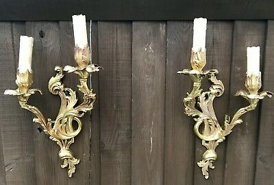 A Pair Of French Ormolu Wall Lights In Rococo Design