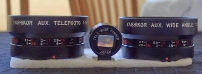 Yashica Auxiliary Telephoto & Wide-Angle Lenses W/Tele-Wide Finder+ Leather Case