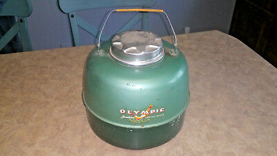 Vintage OLYMPIC Insulated Hot/ Cold Metal Porcelain Water Cooler Gallon Jug