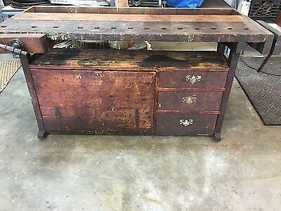 Vintage Carpenter tool workbench w/2 vices- Used found in workshop- Ivoryton CT