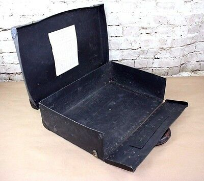 Vintage suitcase W/front opening thick board with metal corners & leather handle