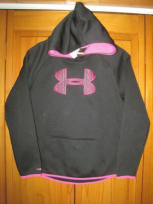 Under Armour Cold Gear Strom1 hoodie sweatshirt girls YLG L black pink