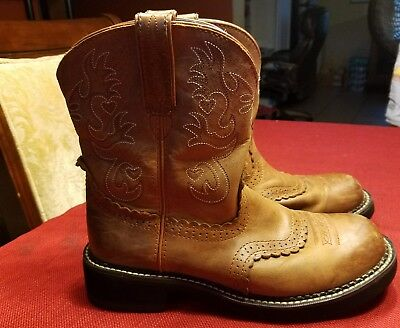 Women's Ariat Western Round Toe Boots Fatbaby Brown Leather Size 10 B