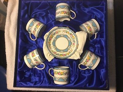 Vintage Crown Staffordshire Demitasse 6 X Tunis Coffee Cup Saucer Boxed