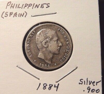 1884 PHILIPPINES, (Spain) 20 CENTIMOS, CIRCULATED, SILVER COIN, KM #149