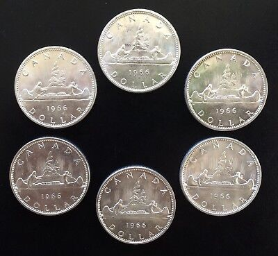 Lot of 6 1966 Canada 80% Silver Dollar Coins.  Canadian $1 Coin Lot