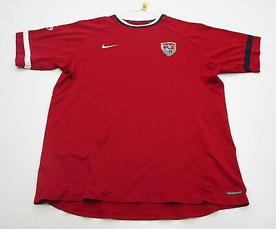 NIKE #T1192 Men's Size XL Athletic USA SOCCER  SPHERE DRY Short Sleeve Red Shirt