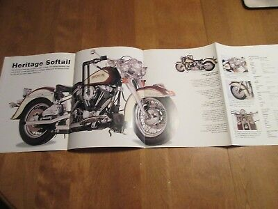 2 sided Harley Davidson FXRS Convertible Heritage Softail 4 fold Poster 12 X 33