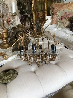 Antique Vtg Petite Chandelier crystal prism bobeches metal french italian style""