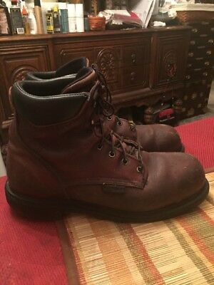 Red Wing Men's Brown Leather Safety Boots Shoes Size 10