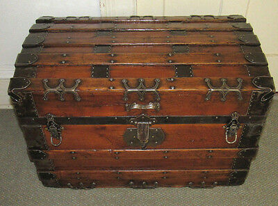 Antique Steamer Trunk Vintage Victorian Flat Top High Quality Chest Tray&key