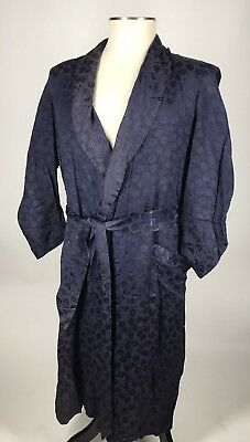 Awesome! VTG 40s 50s Deco Print Silky Rayon Robe Smoking Jacket M
