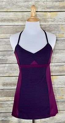 Lululemon Athletica Bend and Flow Tank Top Hyper Stripe Plum/Plum Size 6 Yoga