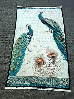 Peacock fabric panel Majestic Beauties cotton quilting feathers & french writing