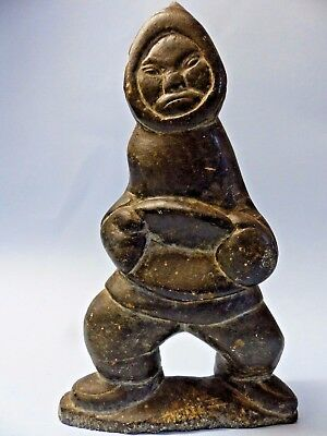 Very Old Carved Stone Eskimo Inuit Figural Carving - Signed - Very Rare - L@@k