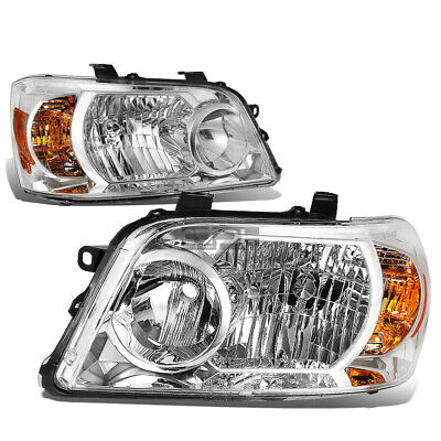 Fit 2004-2006 Toyota Highlander Pair Chrome Housing Amber Corner Headlight/Lamp