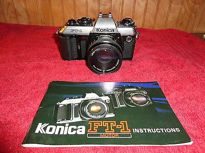 Konica FT-1 Motor 35mm SLR Film Camera w/ Hexanon AR 50mm F1.8 Lens Untested