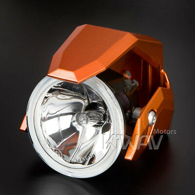 "3"" round fog light halogen H3 12V 55W ECE orange shield xPAIR for road bike"