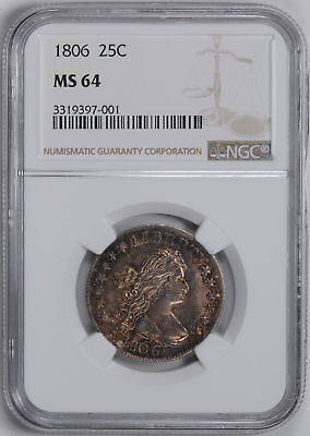 1806 Draped Bust 25C Ngc Ms 64